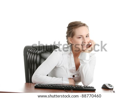 Young caucasian office worker woman behind the desk. Isolated on white background - stock photo