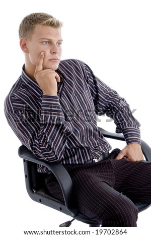 young caucasian sitting on chair thinking isolated with white background - stock photo
