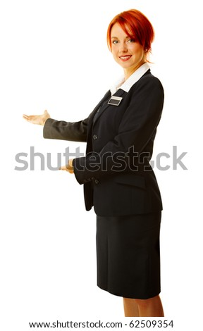 young caucasian woman as hotel worker - stock photo