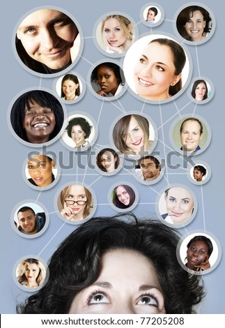 young caucasian woman in her 30s with her social network friends and business partners in a diagram - stock photo