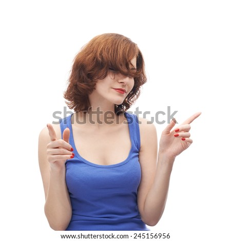 Young caucasian woman in her twenties listening to music and dancing, composition isolated over the white background - stock photo