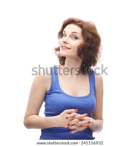 Young caucasian woman in her twenties smiling and listening to something, composition isolated over the white background - stock photo