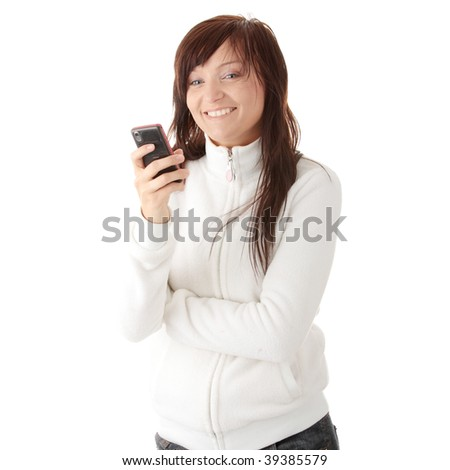 Young caucasian woman typing message on her mobile phone isolated on white background