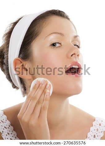 Young Caucasian woman wearing hairband for beauty care concepts. - stock photo