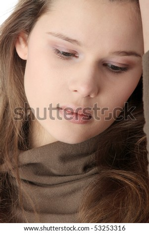 Young caucasian woman with depression - stock photo