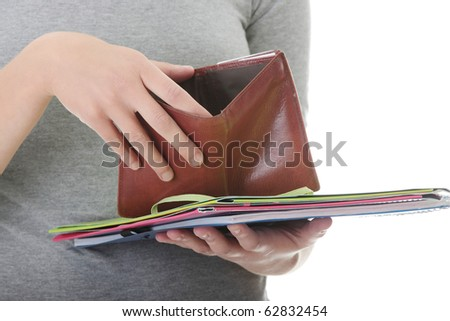 Young caucasian woman with empty wallet - broke concept