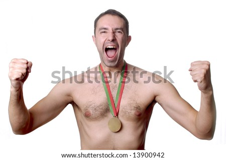 Young Champion With Gold Medal - stock photo