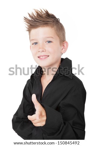 Young charming boy pointing isolated on white background. I want you. - stock photo