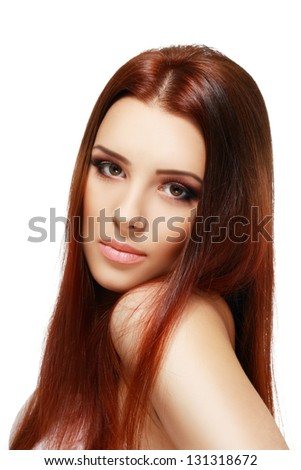 young charming calm woman beautiful with long strong brown hair isolated on white background