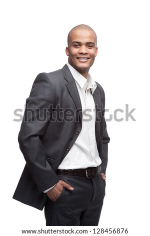 young cheerful black businessman standing isolated on white - stock photo