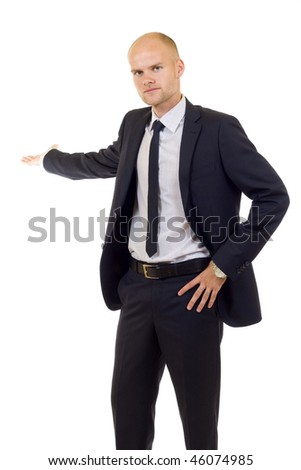 young cheerful business man giving a presentation. isolated over white background
