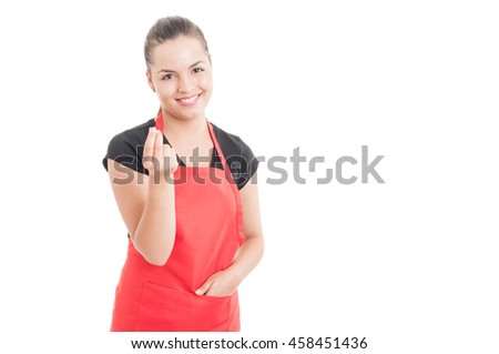 Young cheerful employee doing a rich gesture or counting money concept isolated on white background with text area - stock photo
