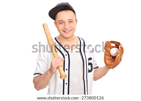 Young cheerful man in a white baseball shirt holding a baseball bat and a ball isolated on white background - stock photo