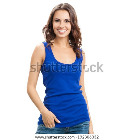 Young cheerful smiling woman, isolated over white background - stock photo