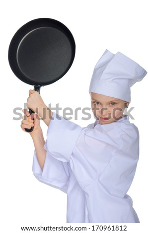 Young chef threatens frying pan isolated on white - stock photo