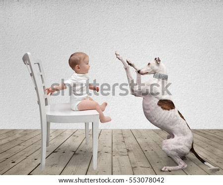 young child and his dog