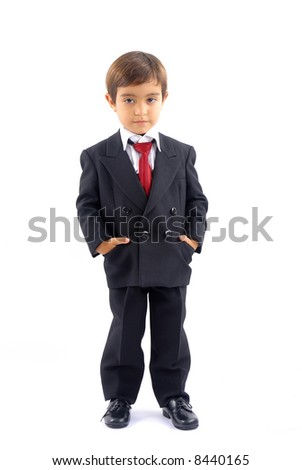 Young child businessman on white background .