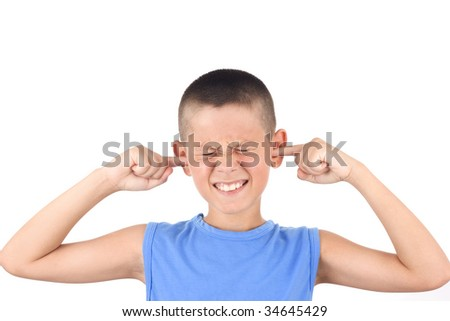 Young Child Covering Ears From Loud Noise - stock photo