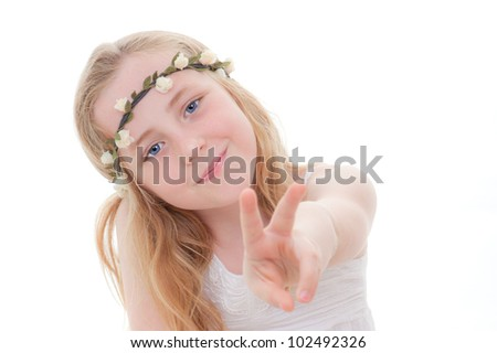 young child doing v or victory sign for success or winner. - stock photo