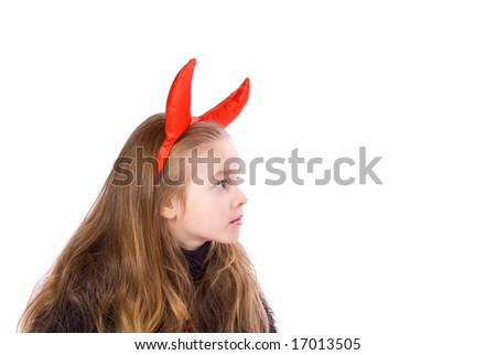 Young Child Dressed in a Devil Costume - stock photo