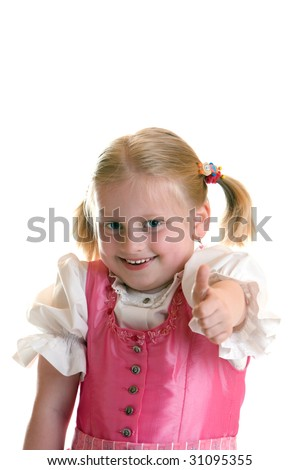 Young child express happiness with thumb up - stock photo
