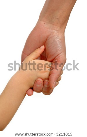 Young child hand holding adult hand.
