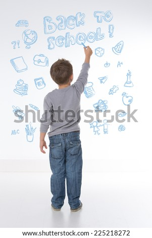 young child happy to learn new things and words - stock photo