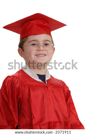 Young child, in red graduation robe and cap, smiling, isolated on white - stock photo