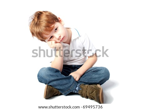 Young Child Looking Sad - stock photo