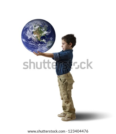 Young child try to save the world (world provided by NASA) - stock photo