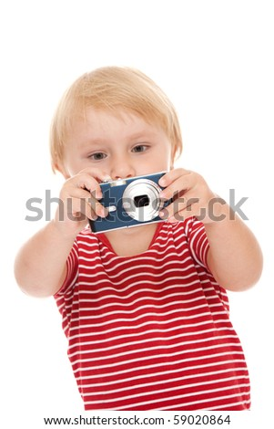 young child with camera pose on white background - stock photo