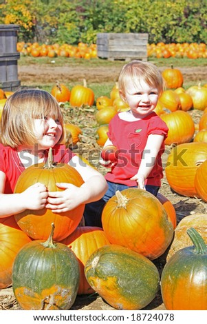 Young Child with Pumpkins in Fall - stock photo