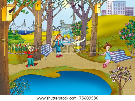 Young children play in the park on the waterfront in the late spring - stock photo