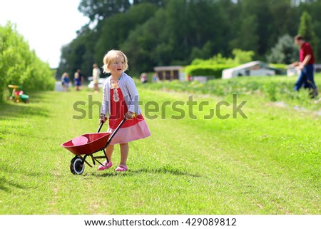 Young children walking with barrow wheel trolley in the farm. Small toddler girl harvesting healthy vegetables in the field. Healthy bio food concept. Leisure activity for family with kids - stock photo