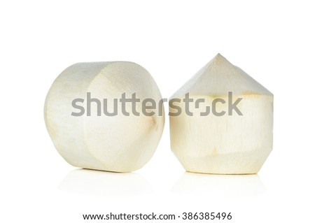 Young Coconut on White Background . - stock photo