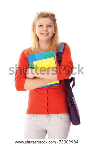 Young college girl with books - stock photo