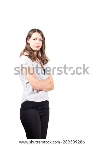 Young confident American female on isolated white background - stock photo