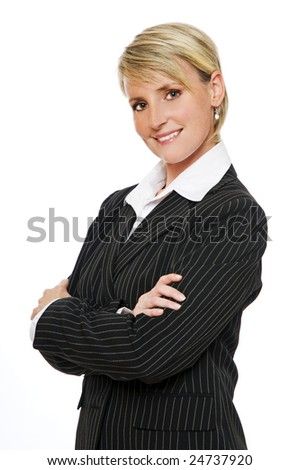 young confident blond business woman, isolated on white - stock photo