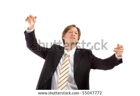 young confident businessman isolated on white background, lots of copyspace.