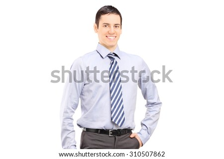 Young confident businessman posing isolated on white background - stock photo