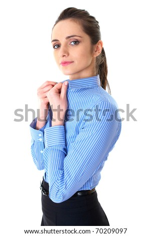 young confident businesswoman hold collar of her blue shirt, isolated on white - stock photo