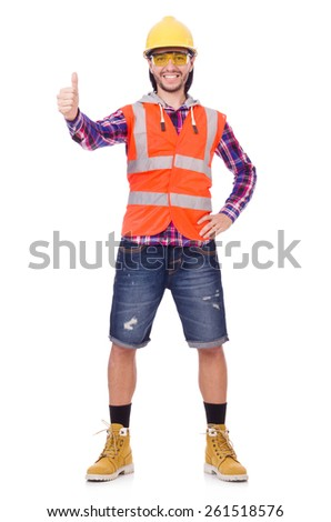 Young construction worker thumbs upisolated  on white - stock photo