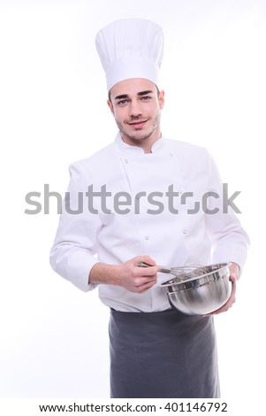 young cook chef isolated on white background with a bowl and whip preparing food  - stock photo