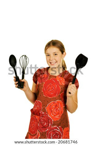 young cook on a white background - stock photo