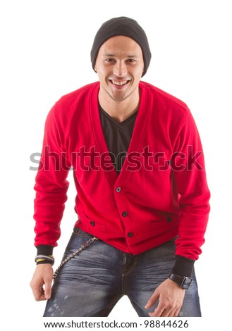 Young cool asian man isolated over white background.