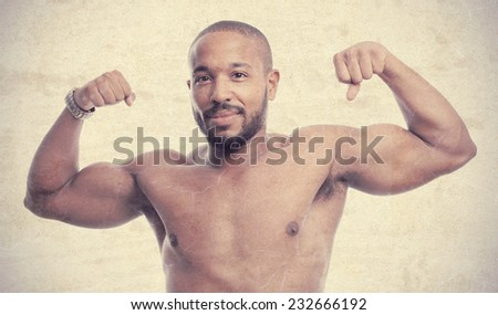 young cool black man strong biceps concept