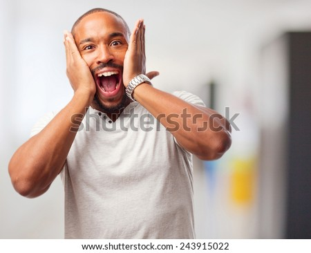 young cool black man surprised - stock photo