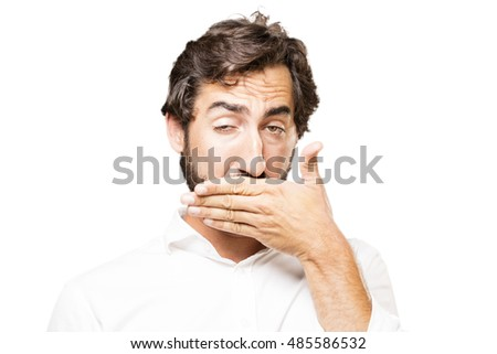 young cool man covering mouth