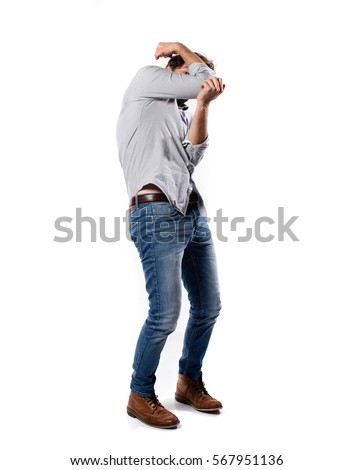 Young Cool Man Full Body Jumping Stock Photo 567952081 ...