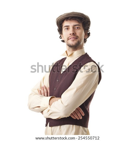 Young Cool Retro Man Smiling Portrait. - stock photo
